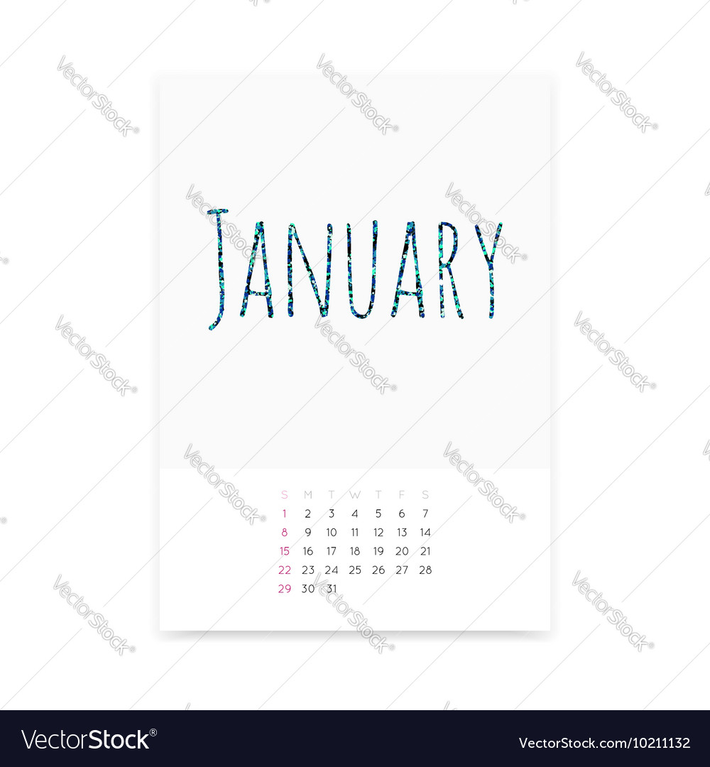 January 2017 Calendar Page vector image