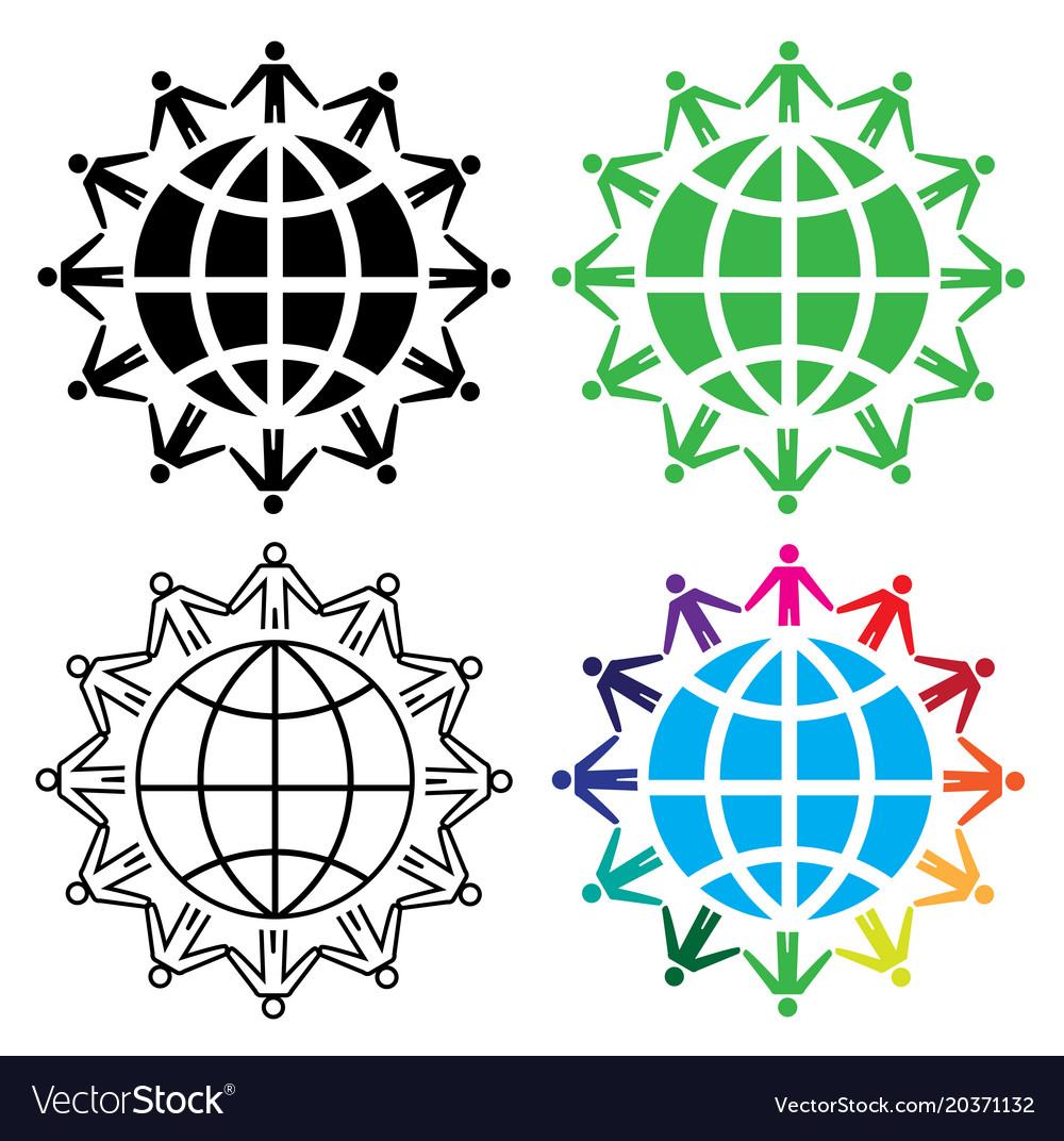 People around the world concept icon set