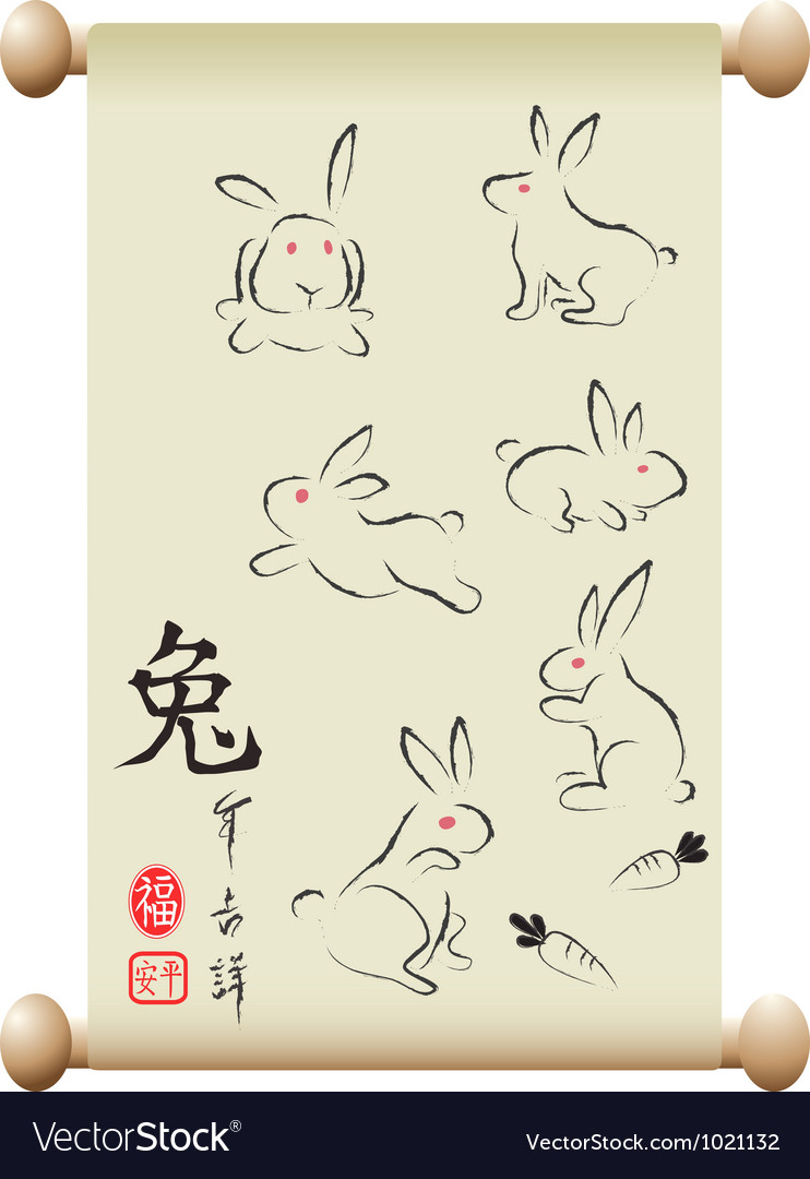 Rabbits on Chinese handscroll