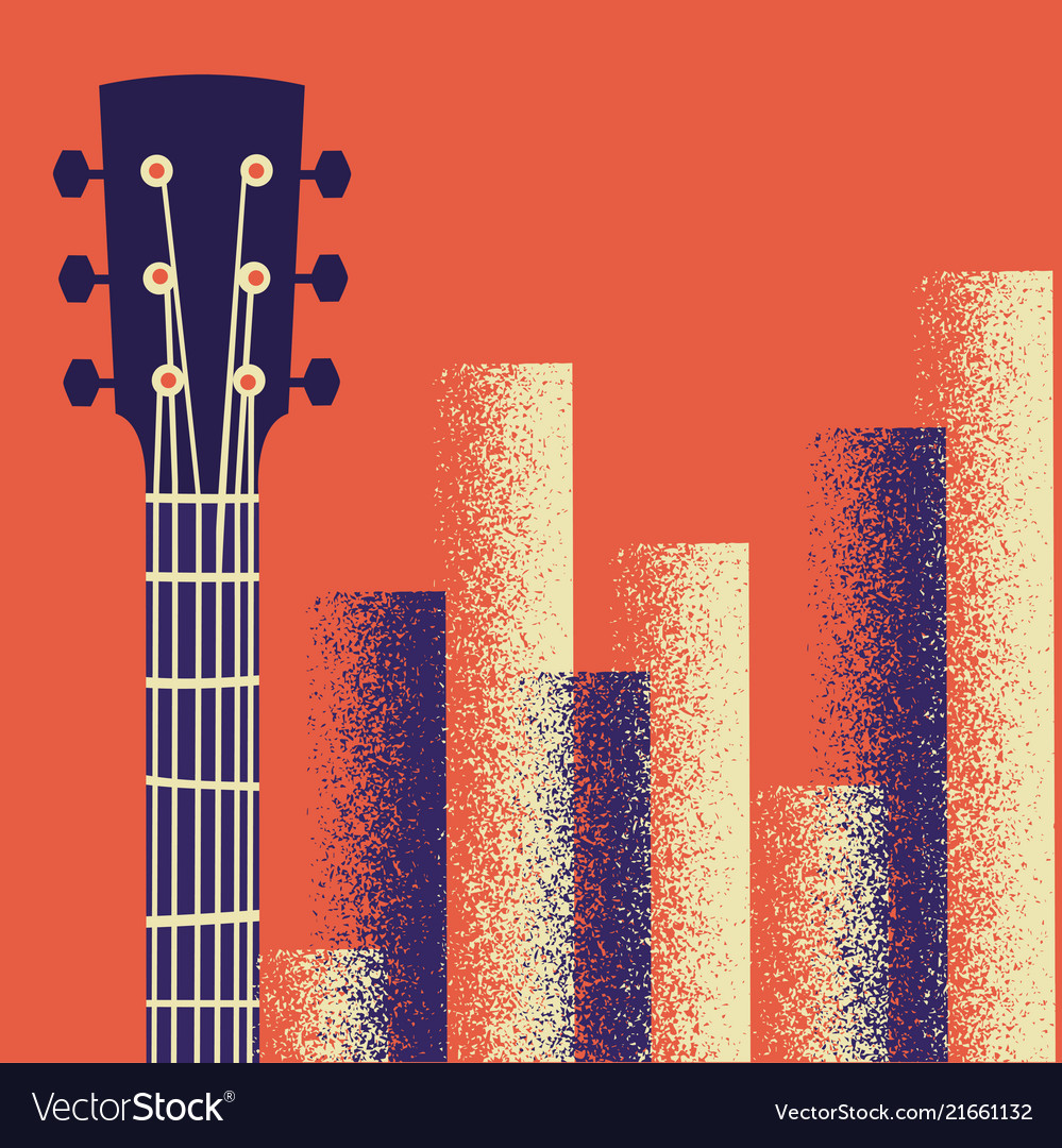 Retro music poster background with guitar