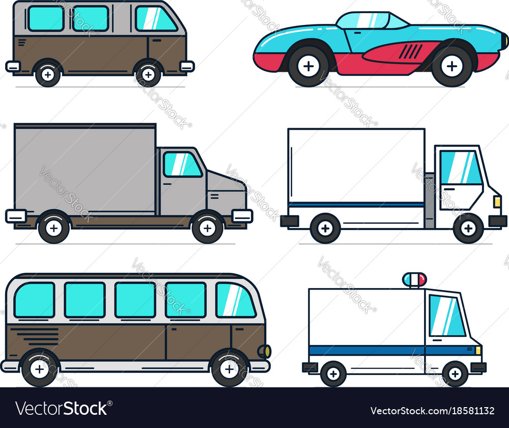 Set of cartoon car on white background best for
