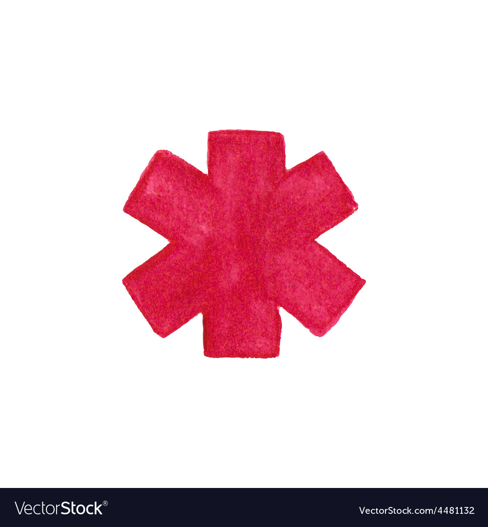 Watercolor medical emergency symbol on the white