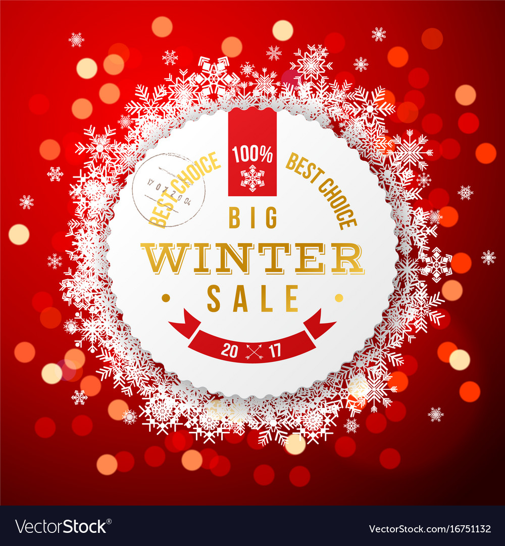 Winter background with sale round label