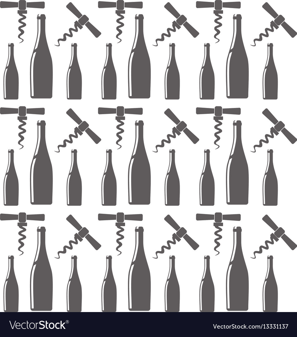 Bottle wine and corkscrew seamless pattern design