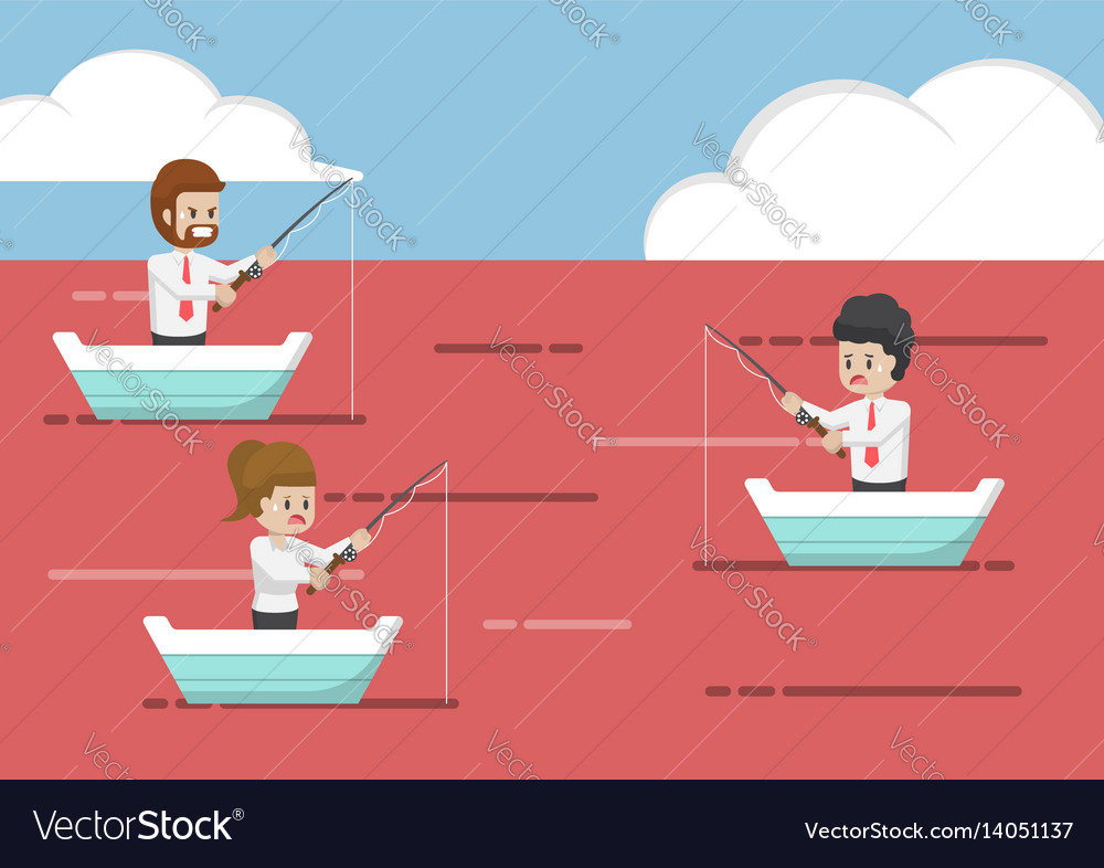 Business people fishing in red ocean vector image