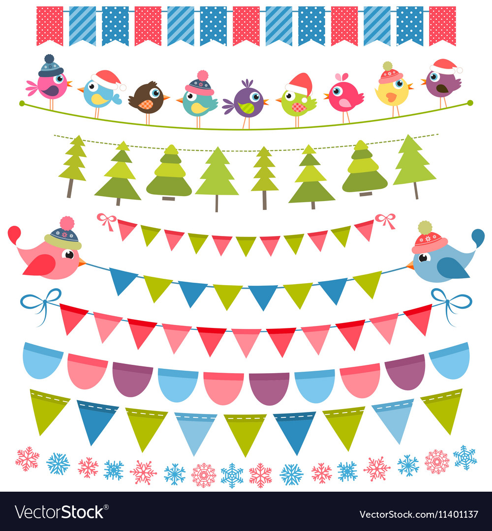 Christmas colorful flags and garlands set
