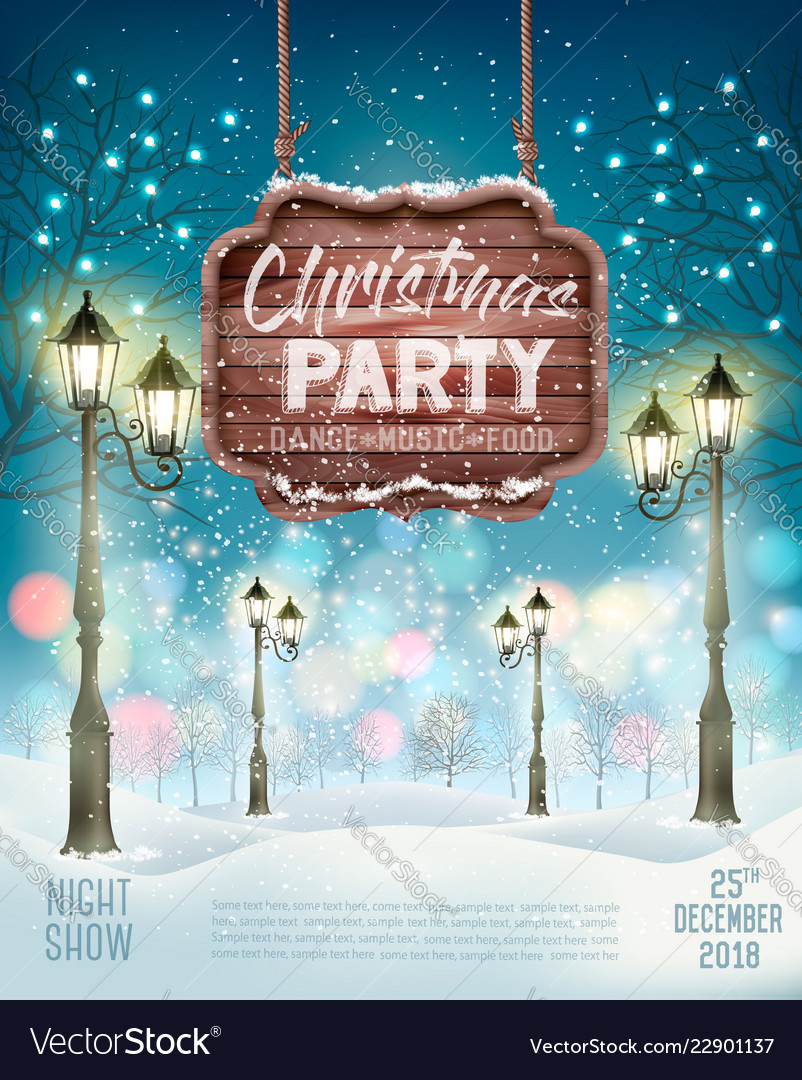 Christmas holiday party flyer background with