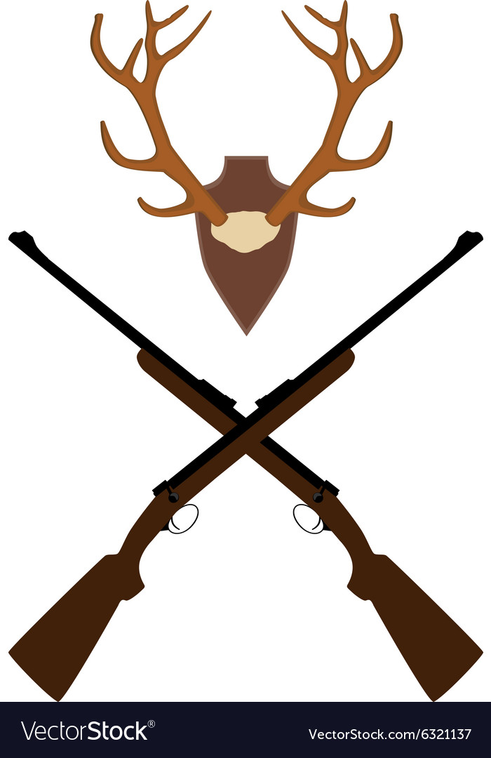 Deer horns and rifle