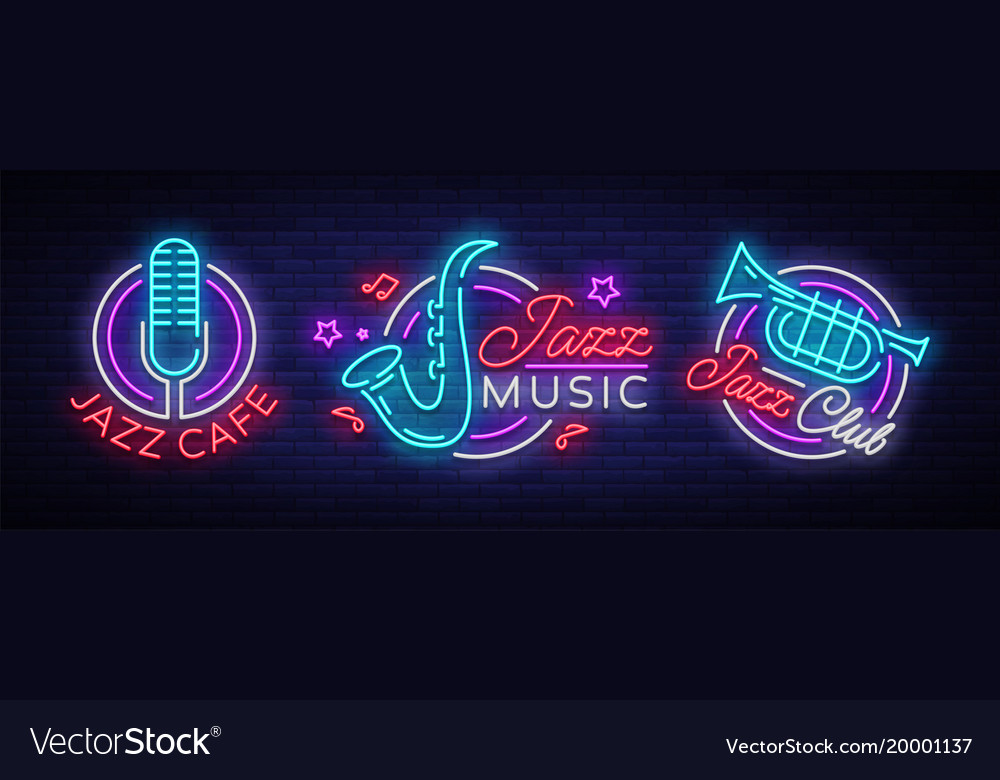 Jazz Music Collection Neon Signs Symbols Vector Image