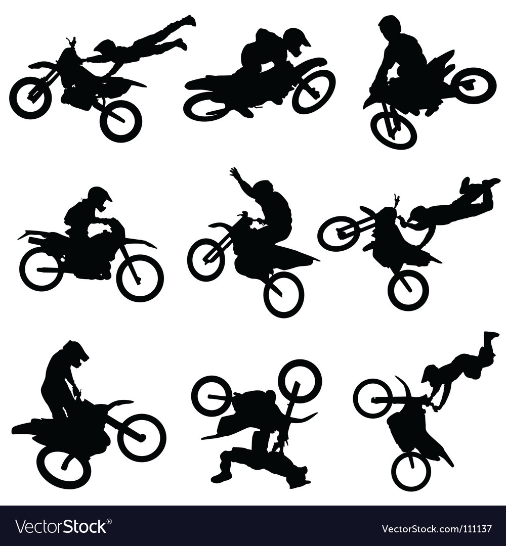 Motocross silhouettes vector image