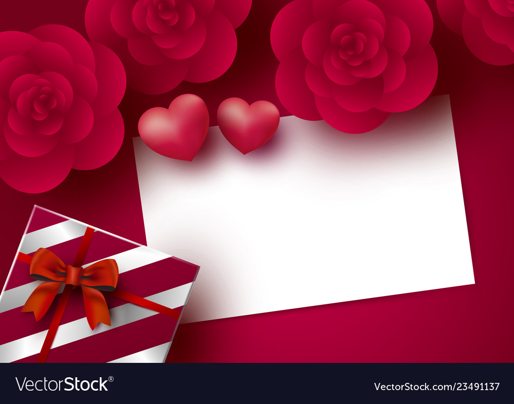 Rose flowers and blank white paper card