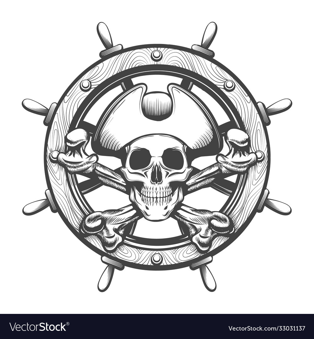 Ship steering wheel with pirate skull inside