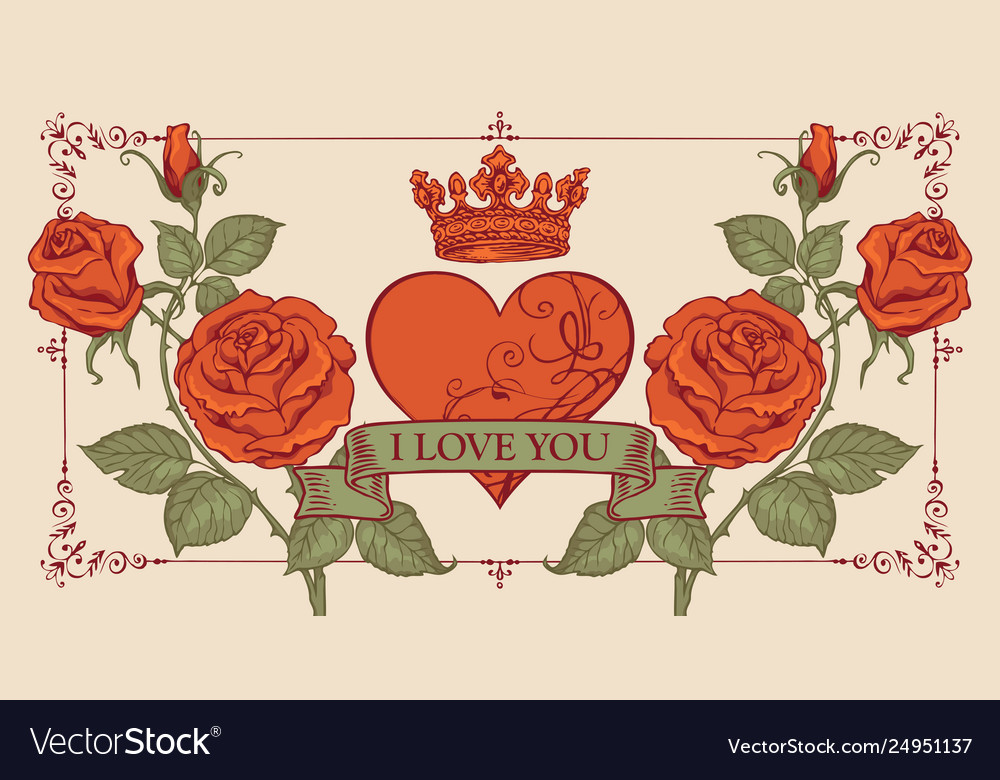 Vintage greeting card with red heart and roses