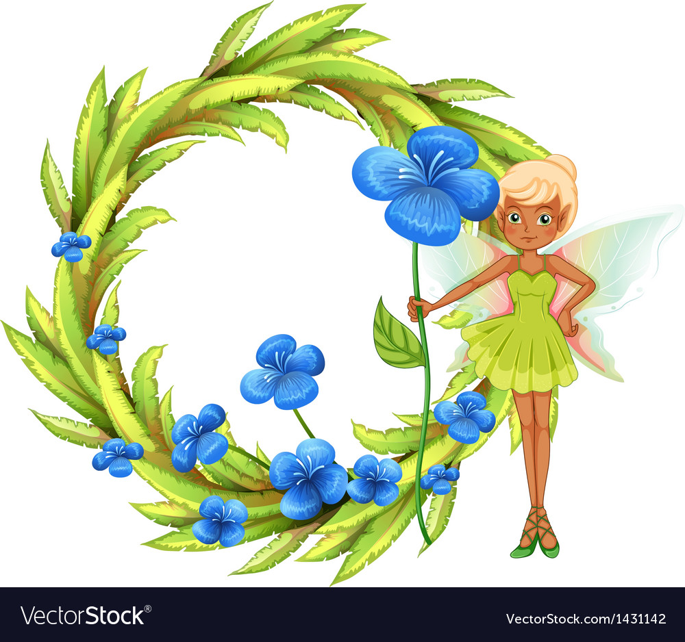 A round leafy border with a fairy holding a blue