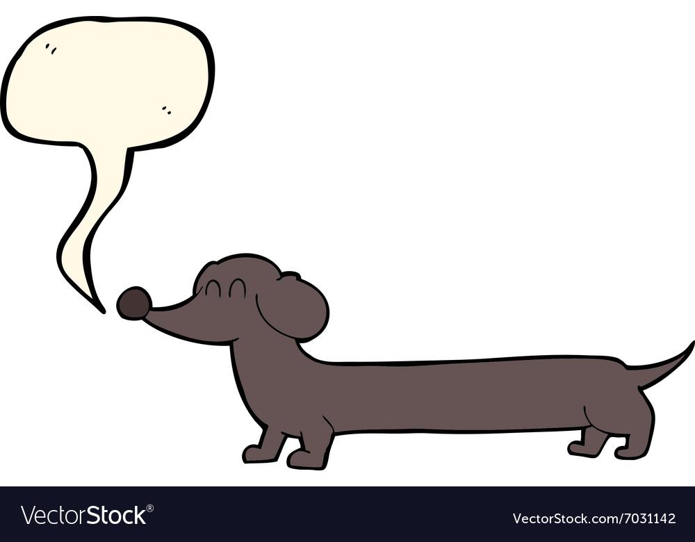 Cartoon dachshund with speech bubble vector image