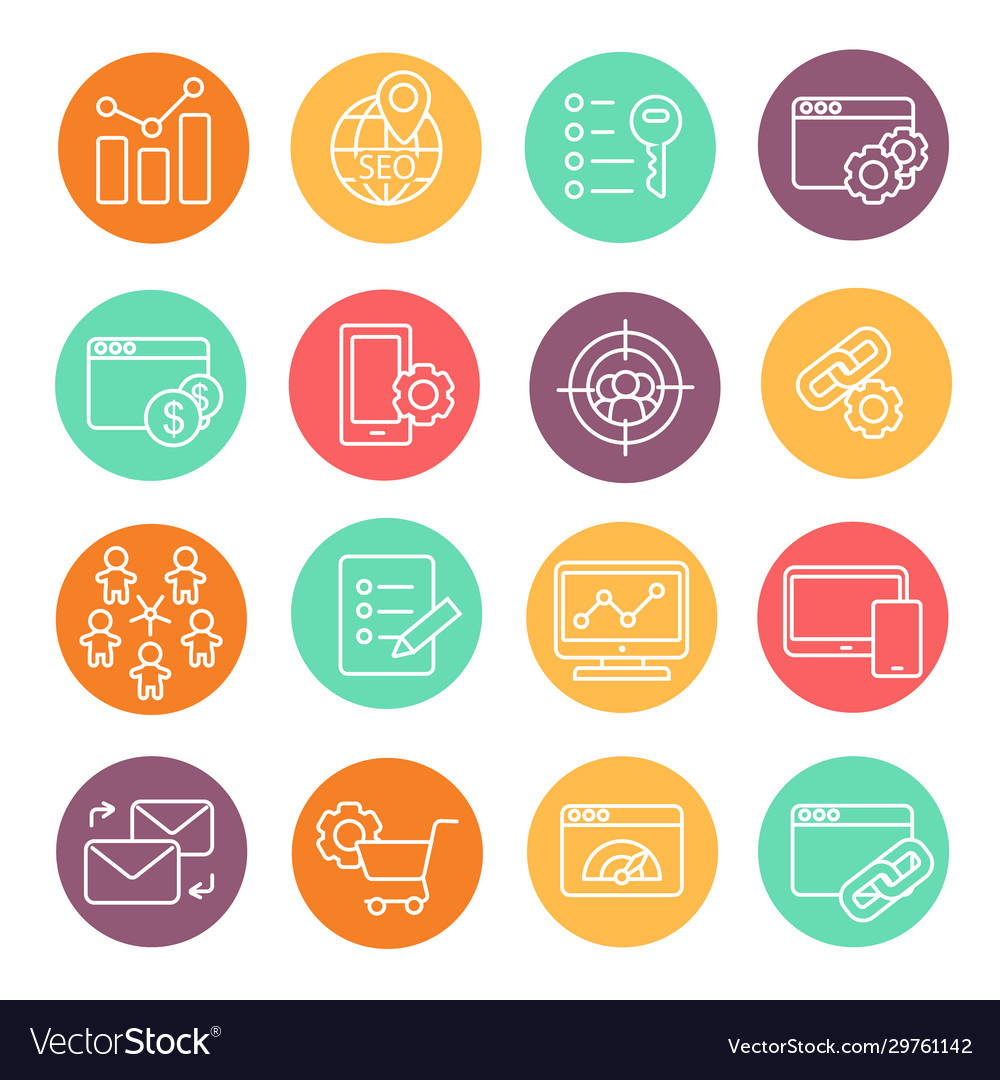 Flat line icons set seo website searching
