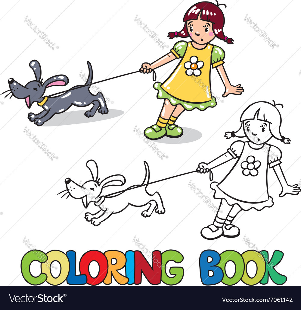 Girl with barking dog Coloring book Royalty Free Vector