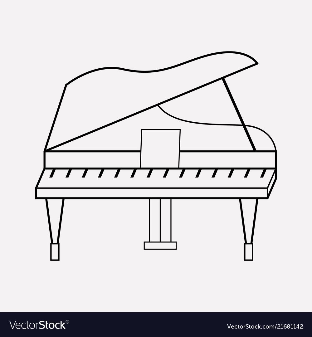 Grand piano icon line element