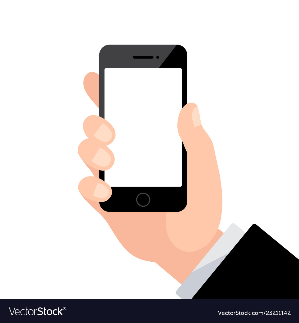 Male hand holding phone with blank screen