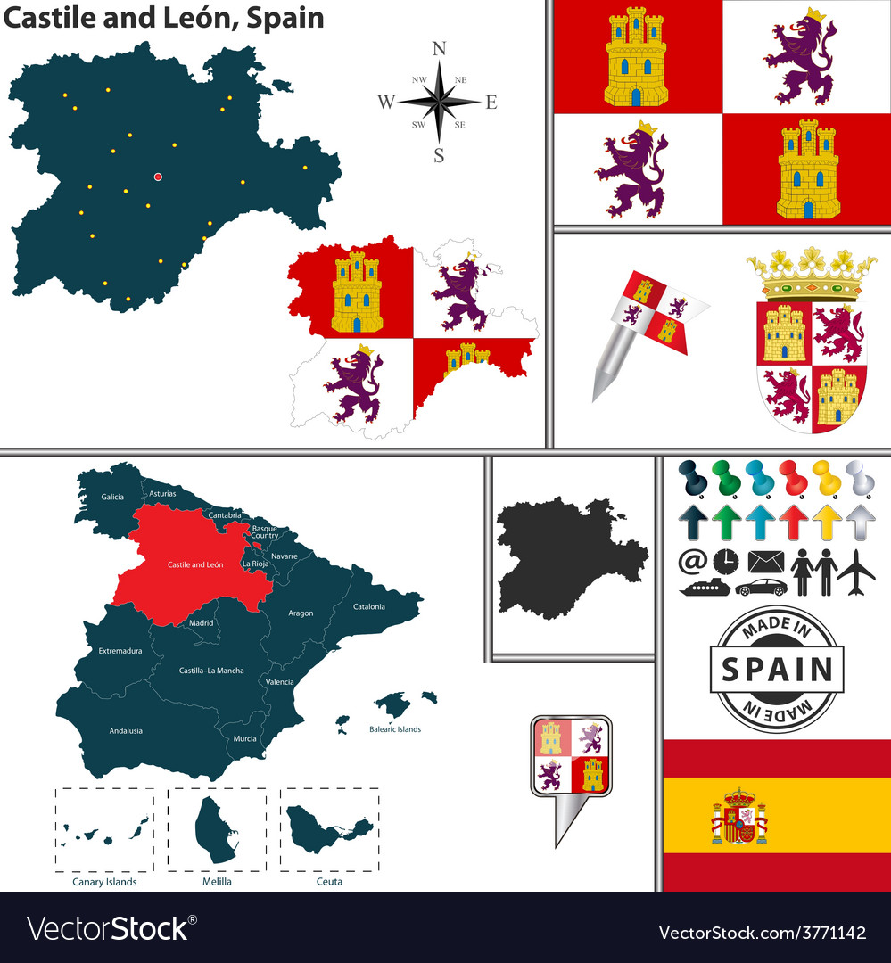 Map of Castile and Leon Royalty Free Vector Image Castile Map on
