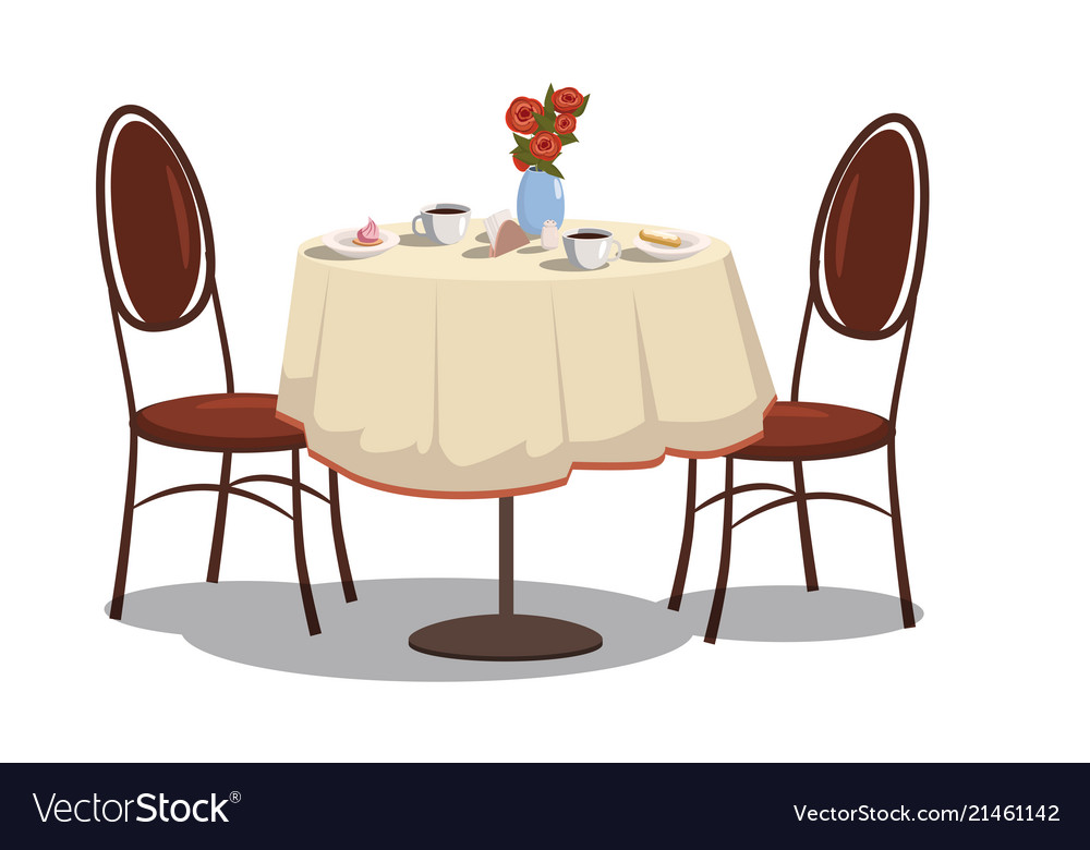 Table With Tablecloth Coffe Vector Image
