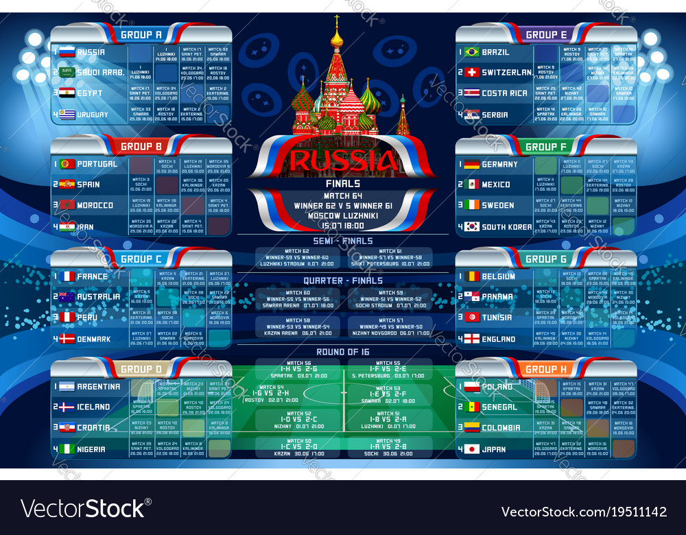 World Calendar.Russia World Cup Calendar