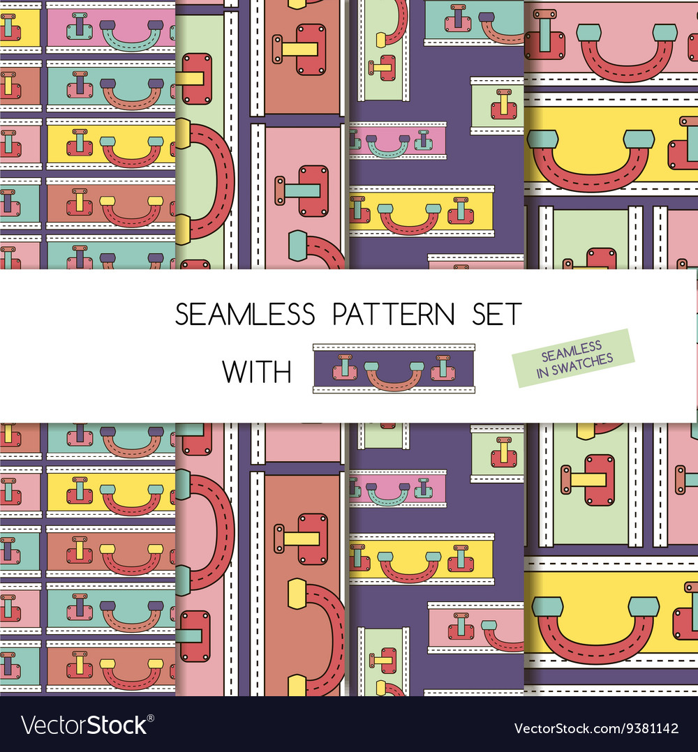 Seamless pattern set of bags and suitcases