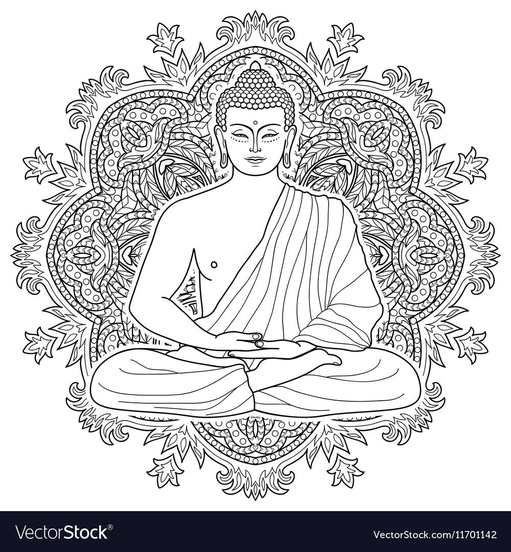 Seated meditating buddha vector image