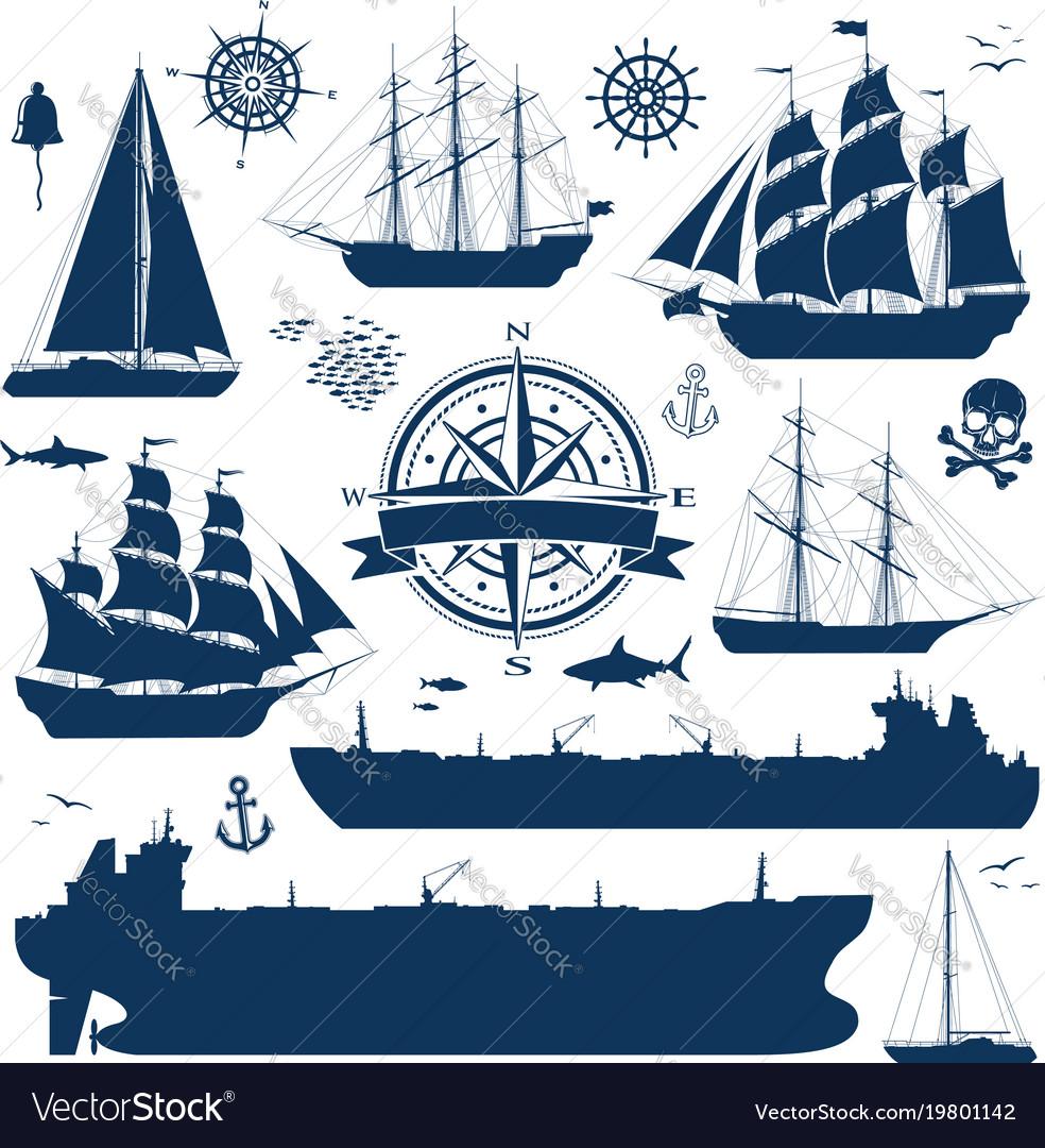 Set of sailing ships yachts and tankers