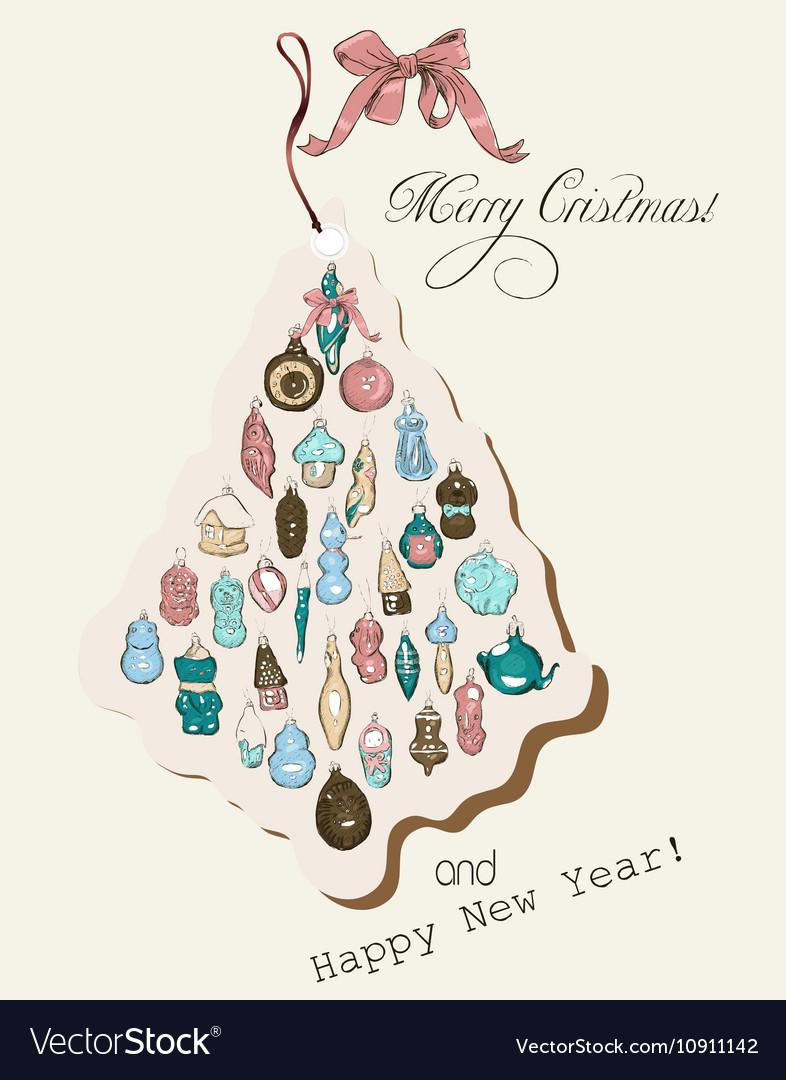 Vintage Christmas card pastel colors