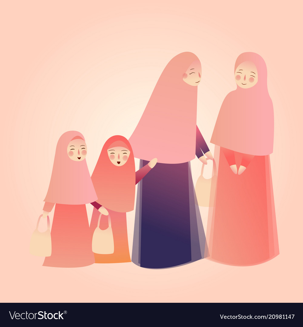 Arabic woman carrying shopping bags with families