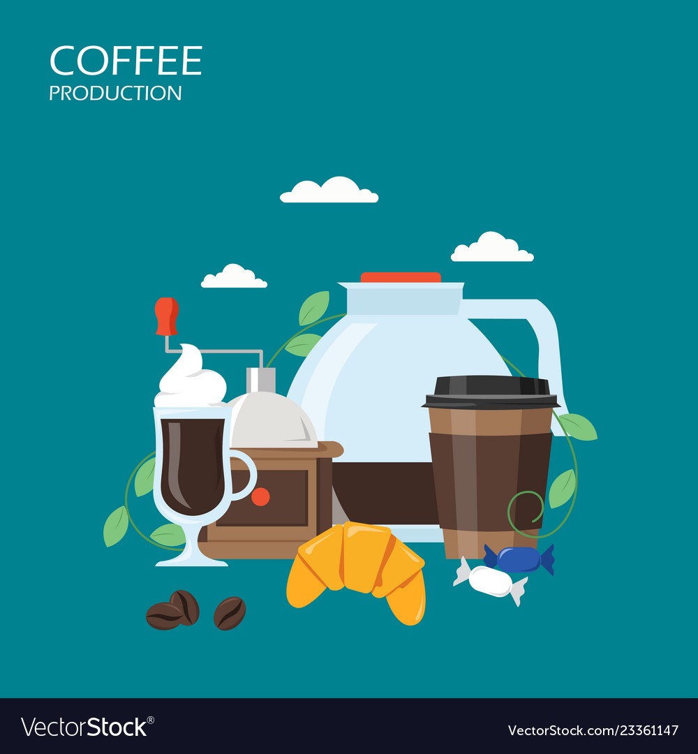 Coffee production flat style design