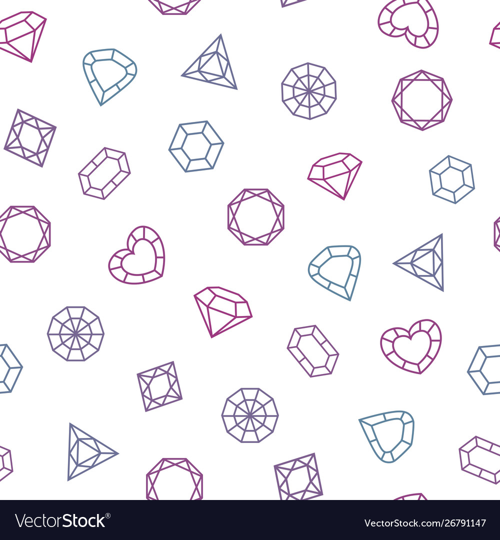 Different shaped crystals set seamless pattern