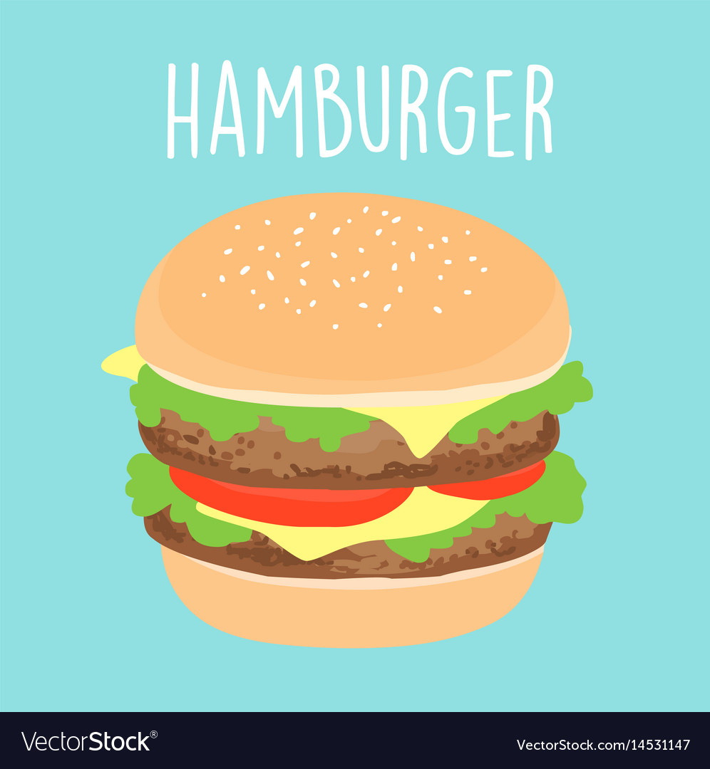 Fresh cheese hamburger graphic vector image