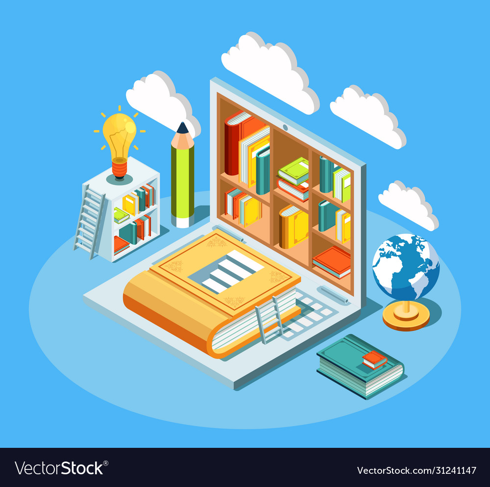 Isometric online education composition with laptop