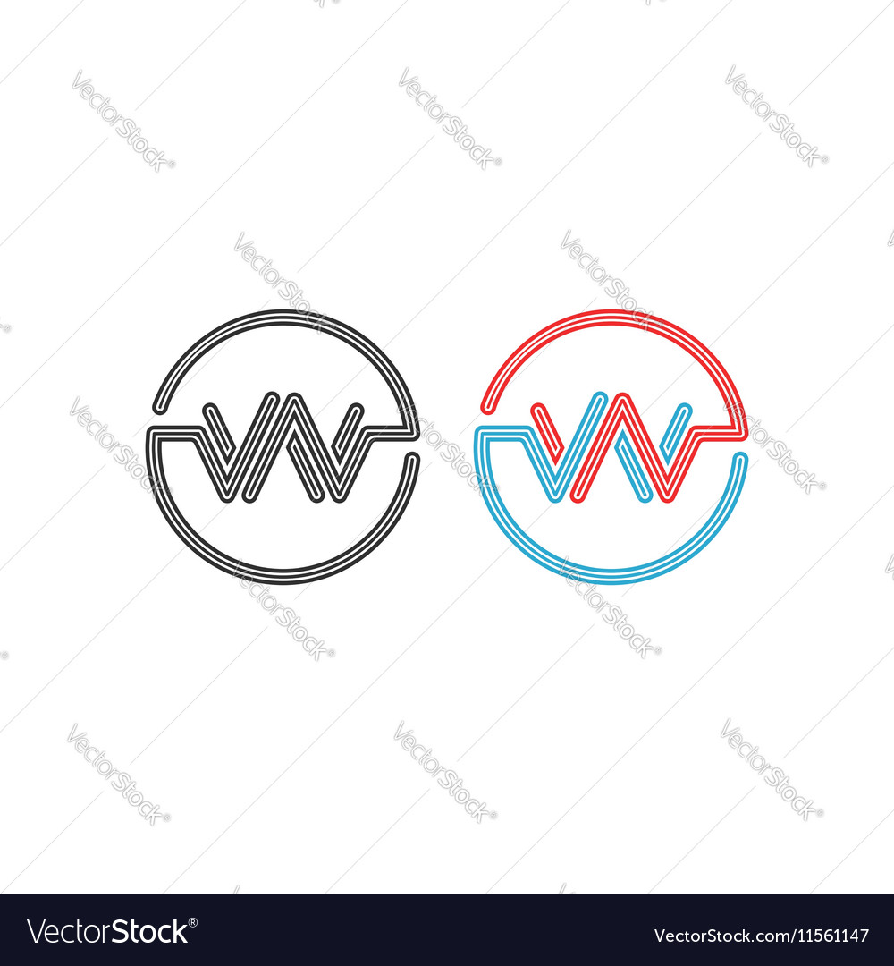 Logo W intersection letters WW circles frame vector image