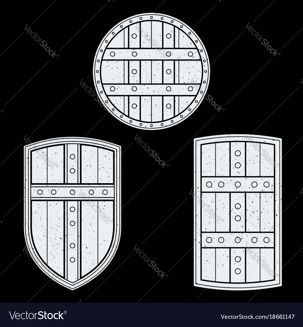 Monochrome medieval shields set