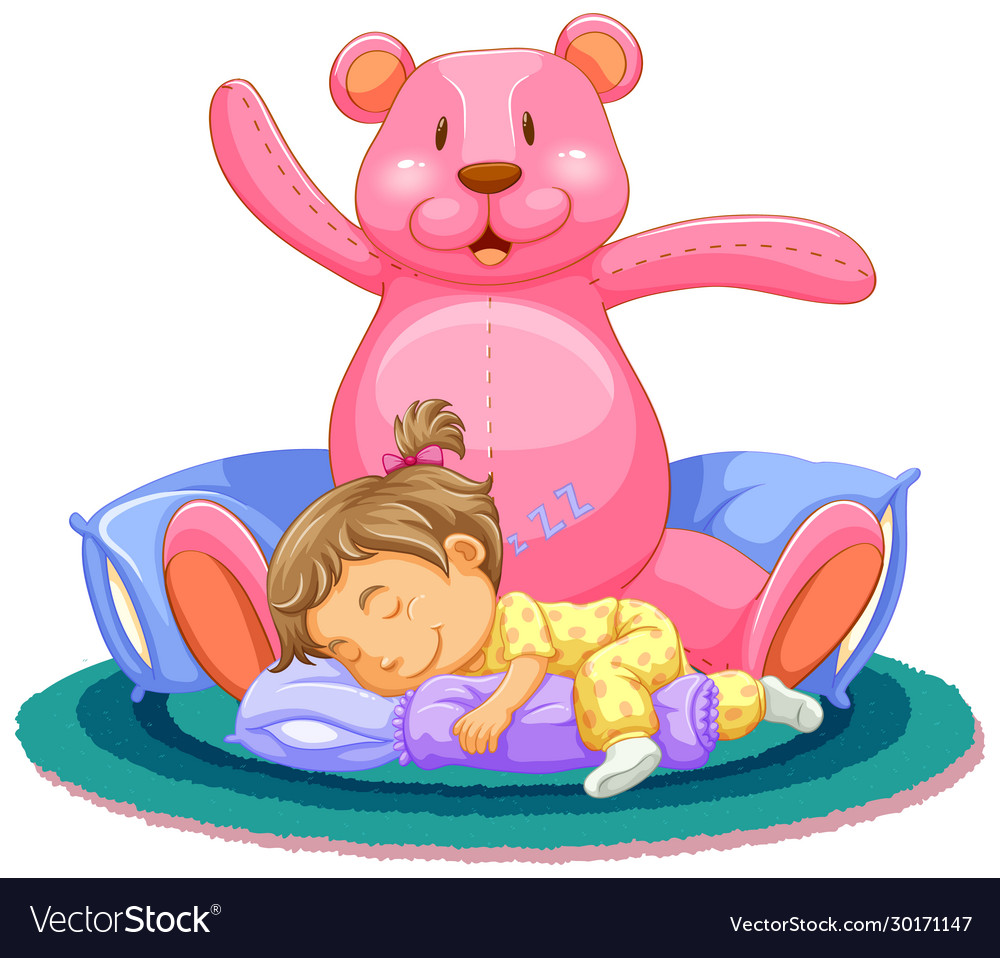 Scene with little girl sleeping with pink teddy