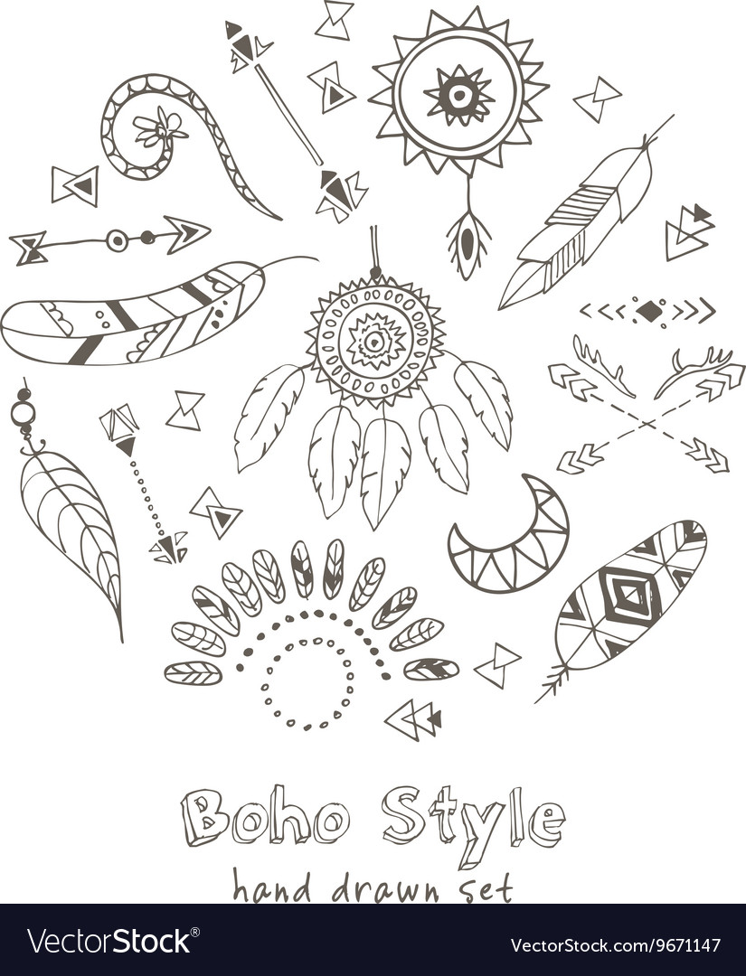 Set of Boho Chic Style Elements