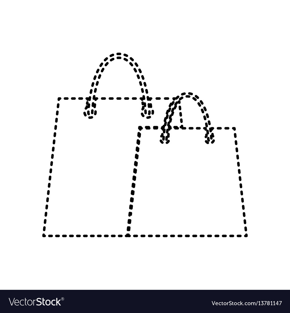 Shopping bags sign black dashed icon on vector image