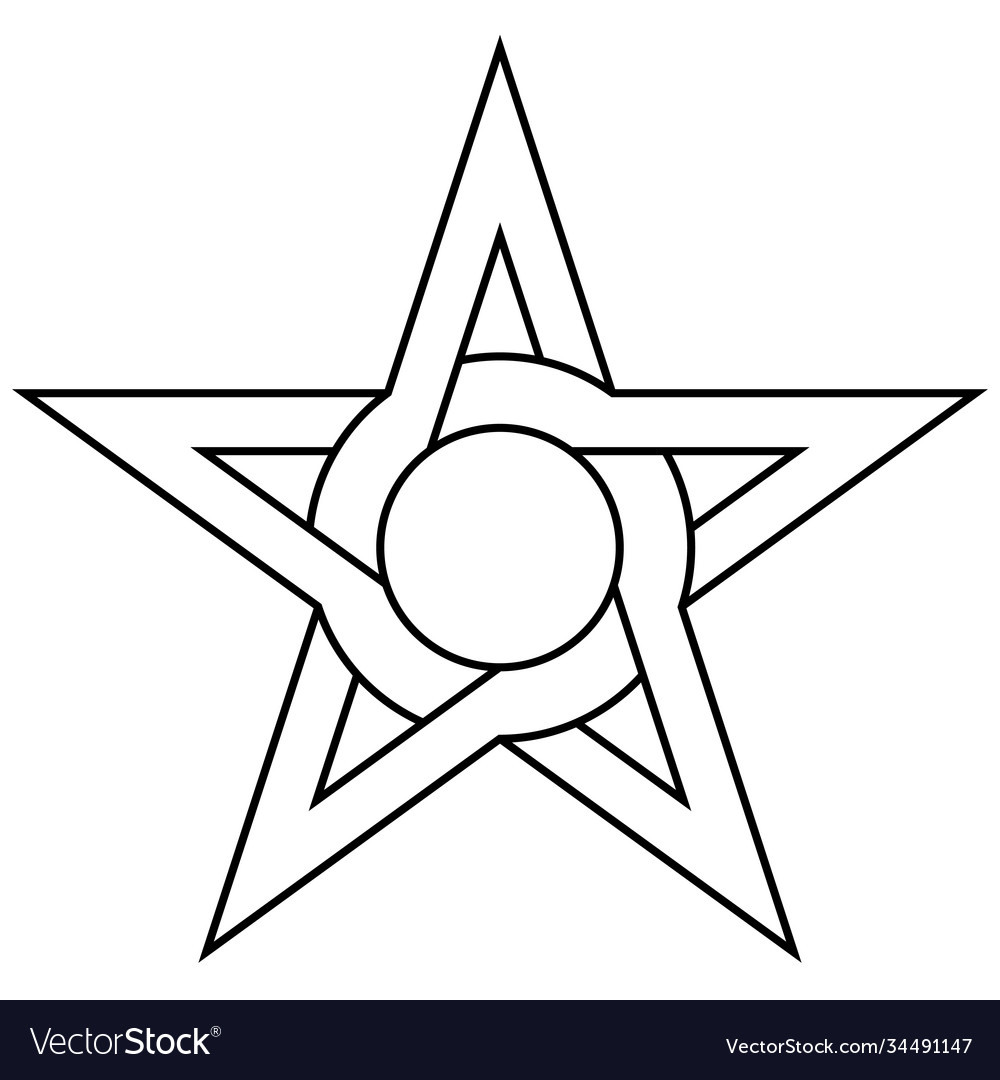 Star with circle inside intertwining sides and