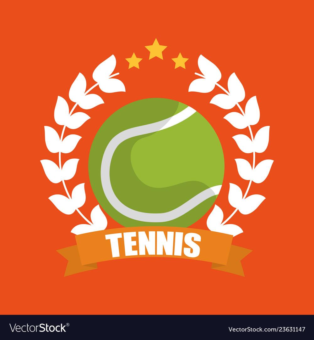 Tennis ball wreath laurel banner sport
