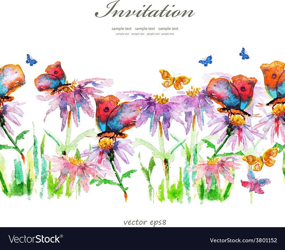Cute floral border watercolor