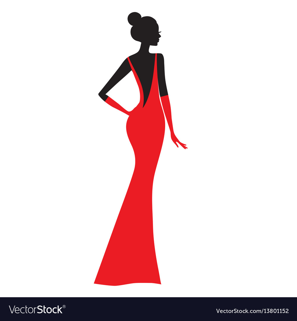 Fashion model silhouette of beautiful woman in