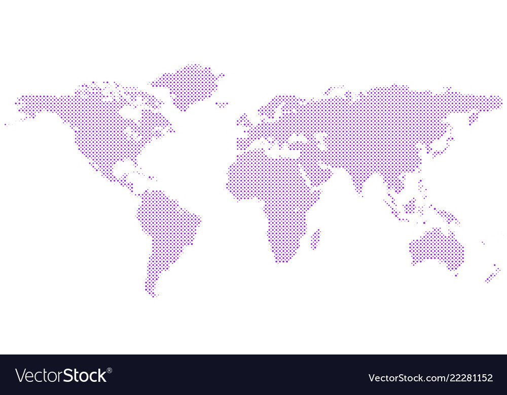 Halftone world map background with circles