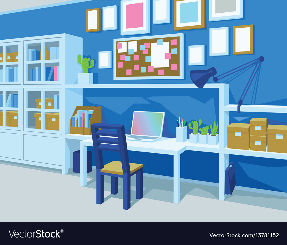 Home office interior of workplace perspective
