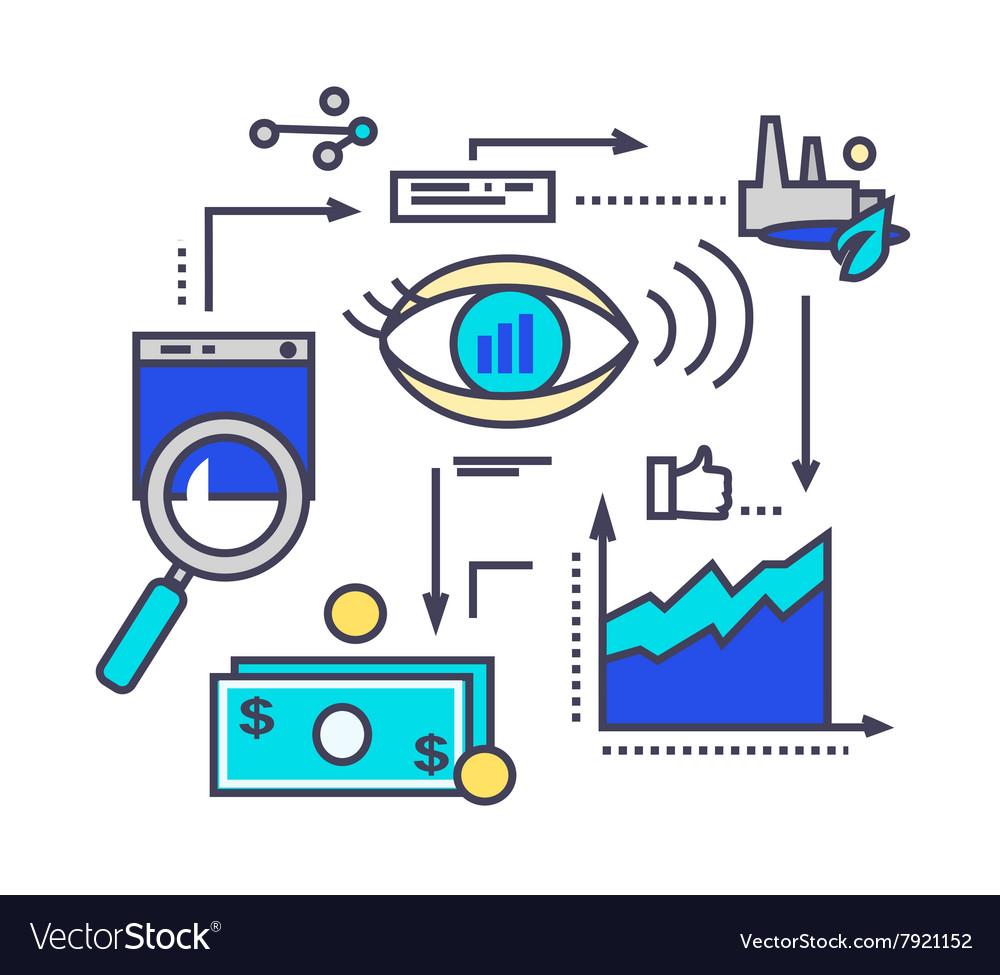 Icon Flat Style Design Vision Development vector image
