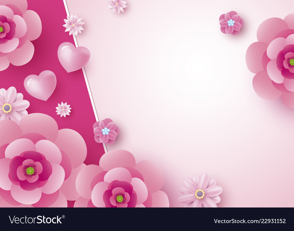 Mothers Day Card Design Of Flowers And Heart Vector Image