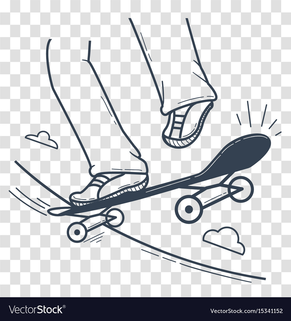 Silhouette skateboarder doing a jumping trick vector image