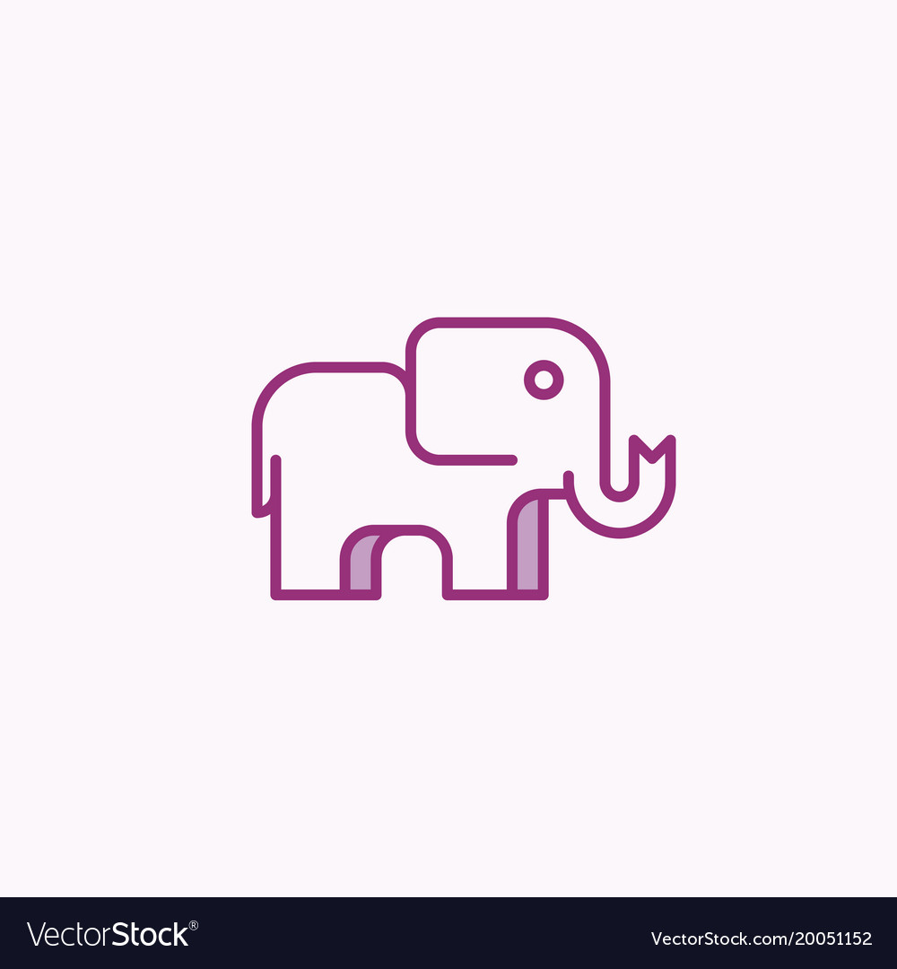 simple geometry elephant design abstract vector image